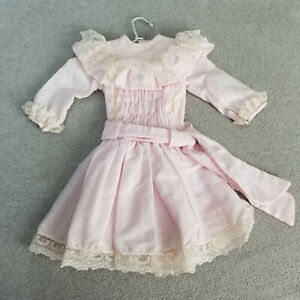 """15"""" Fancy Pink Doll Dress with Lace Trim for 18"""" to 23"""" antique or vintage Doll"""