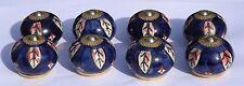 placard céramique BOUTON bleu foncé rond avec motif (Raccords laiton) x 8