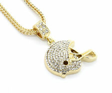 """Mens Gold Plated Iced Out Football Helmet Small Pendant 24"""" Franco Necklace"""