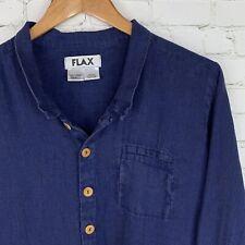 Men's FLAX (Small) Blue 100% Linen Button Front Long Sleeve Shirt