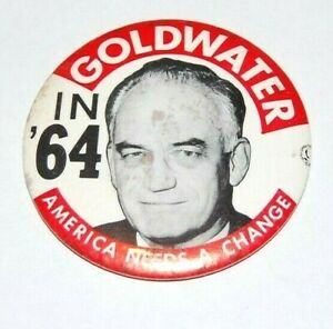 """1964 BARRY GOLDWATER 3.5"""" campaign pin pinback button political presidential"""