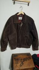 Vintage Levi Strauss Western Bomber Brown Suede Leather Blanket Lined Coat XL
