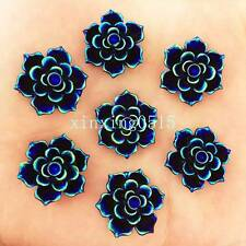 New 10pcs 20mm AB Resin 3D flower Flatback stone Wedding  buttons diy/black