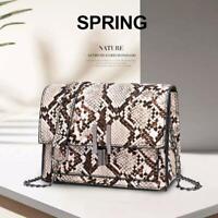 Womens Snake Skin Print Style Shoulder Bag Ladies Fashion CrossBody Handbag Tote