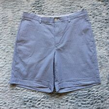 Brooks Brothers Men's Bermuda Shorts Size 36 Blue White Striped Cotton Pockets