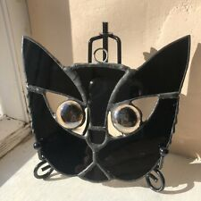 Black cat, kitty, sun catcher, spinner, yellow eyes ,handcrafted stained glass,
