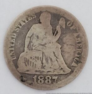 1887 Seated Liberty 10c Dime Silver Coin American USA