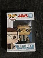 CHIEF BRODY WITH BUCKET FUNKO POP JAWS SHARK MOVIES #755 RARE POP