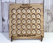 Wooden Personalised One Pound Coin Childrens Kids Good Behavior Reward Chart