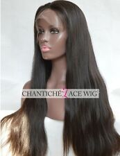 "10"" Natural Straight Human Hair Lace Front Wigs Brazilian Remy Wigs Black Women"