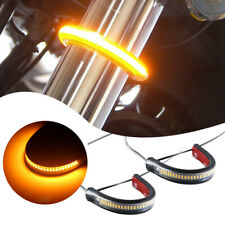 Super Bright Amber LED Fork Turn Signal Lights Strip For Motorcycle-Universal