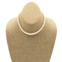 Vintage 6mm White Pearl Necklace With Ornate Sterling Fish Hook Clasp