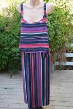 Autograph Striped Maxi Dress Layered Bodice Overlay Size 16 - New.