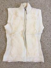 Frost Genuine Rabbit Fur Vest Super Soft Womens Medium Cream Fitted Knit Back