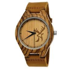 Holzwerk Germany® Herren Damen Holz Armbanduhr Uhr Holzuhr Hirsch motiv Braun H5