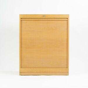 Vintage Hans Wegner Johannes Hansen Denmark Tambour Oak Cabinet Storage System