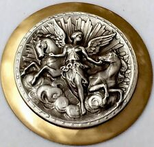 "LARGE Sterling Silver Overlay~Stamped Brass""ART NOUVEAU""Picture Button~2"" INCH"