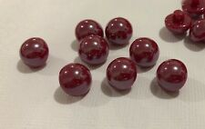 10 Burgandy Red Shank Buttons 12mm L0045 AUSSIE SELLER