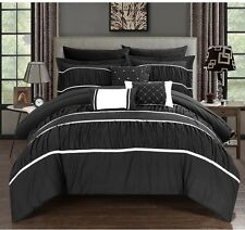 King Size Comforter and Sheet Set White Black 10 pc Bedding Bed in a Bag