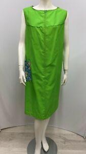Vintage Montgomery Ward House Dress Shift Green Patch Flower Pocket Size 18