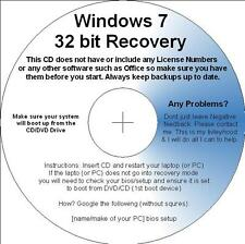 Windows 7 32bit boot Recovery Repair Restore CD For Basic Premium, Professional