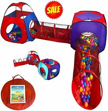 Playz 4pc Pop Up Children Play Tent w/ 2 Crawl Tunnel  2 Tents - Kids Tents for