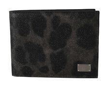 DOLCE & GABBANA Wallet Gray Leopard Leather Print Cardholder Bifold Mens Money