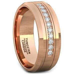 Mens Rose Gold Tungsten Carbide 11 Cubic Zircon Wedding Band Comfort Fit 8mm