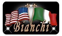 "Italian USA Unity Flag Decal Bumper Sticker Personalize Name-Text 3.5"" x 6"""