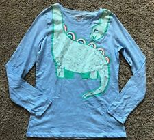 NWT Girls Blue Long Sleeve Cat & Jack Dinosaur Top XL 14/16