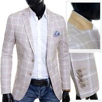 Men's Blazer Beige Brown Summer Jacket Casual Formal Check Pattern Slim Fit
