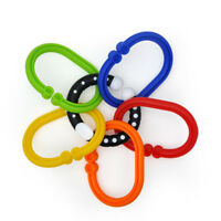 Colorful 9 Rings Chain Baby Teether Chewable Grip Toy Stroller Crib Hanging Gift
