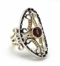 MICHOU Ornate Oval Sterling Silver & Gold Vermeil Ring w Round Cut Garnet Size 9