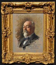 Henri Laissement - Peinture Hsb Portrait d'homme en smoking - Paramé 1905