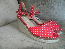 Ladies mystify red  canvas wedge summer sandels uk 5    eu 38 bnwt