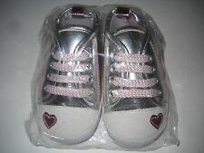 Baby First Walker Silver Pink Hearted Sneaker Shoes For Little Feet