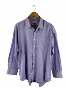 Van Heusen Button Up Shirt Men Size 43 Pink Blue Check Long Sleeve Collar Pocket