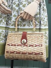 Vintage 1950s/50s Wicker/Leather Basket Hand Bag/Handbag