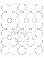 "6 SHEETS 1-1/2"" ROUND BLANK WHITE *GLOSSY* 180 STICKERS~8-1/2""x11 Sticker Sheets"