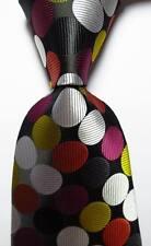 New Classic Dot Black White Red Gold JACQUARD WOVEN 100% Silk Men's Tie Necktie