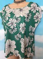 DOROTHY PERKINS 14 VGC Green White Floral Sleeveless T-shirt Top