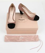 PRADA DARK ROSE NUDE & BLACK SUEDE LEATHER CAP TOE PUMPS HEELS Size 37