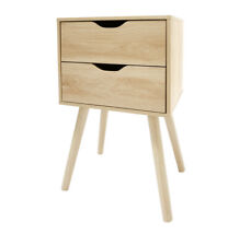 Set Of 2 - 2 Drawer Bedside Scandi Side Table Natural Oak Look Bedroom Storage