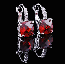 14k White Gold GF Dangle Earrings made w/ Swarovski Crystal Garnet Red Stone
