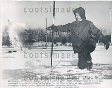 1954 Minneapolis MN Fisherwoman at Ice Fishing Hole Lake Calhoun Press Photo