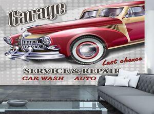 Retro Vintage Garage  Photo Wallpaper Wall Mural DECOR Paper Poster Free Paste