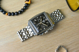 TAG HEUER Monaco CS2111 Mens Automatic Chronograph Black Dial Watch & Extras