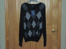 CROFT & BARROW - MEN - SWEATER - BLACK ARGYLE - SIZE SMALL     (CF-16-82)