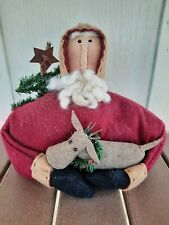 New listing Primitive Folk Art Stump Santa Claus Doll Antique Christmas Weighted Wool