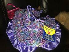 "Build A Bear Sequin Rainbow Dress 16"" With Sequined Purse"